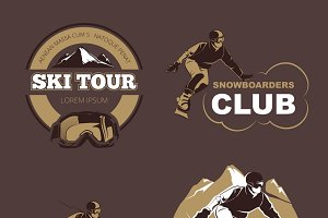 Winter sports logos set