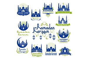 Ramadan Kareem greetings isolated icon set