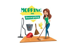 House mopping and sweeping vectro poster