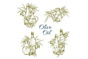Olive oil bottles vector sketch icons set