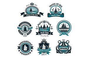 Nautical icons and vector marine symbols set