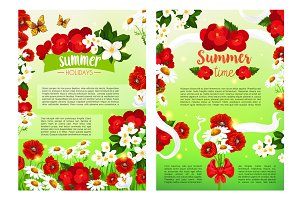 Summer blooming flowers vector holiday poster