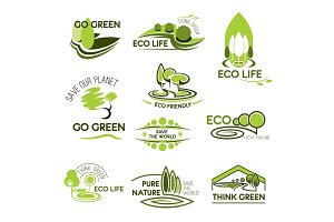 Eco nature and green ecology vector icons set