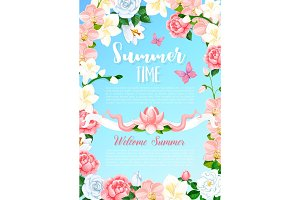 Summer time flowers greeting vector poster