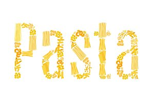 Vector text of pasta for Italian restaurant