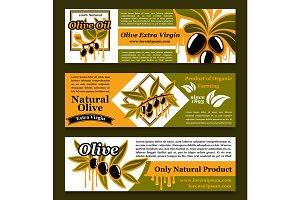 Olive oil extra virgin product banners vector set