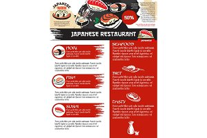 Vector menu for Japanese sushi food restaurant