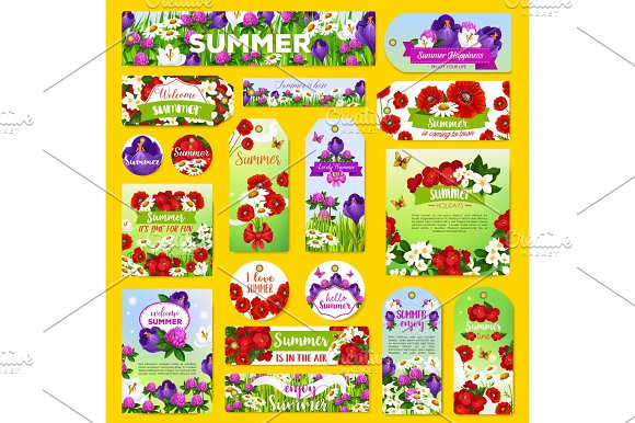 Vector Summer Flowers Greeting Tags Or Banners Set