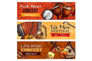 Music concert or festival vector banners set