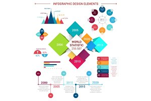 Vector flat infographics design elements template