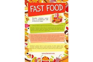 Vector fast food poster for fastfood restaurant