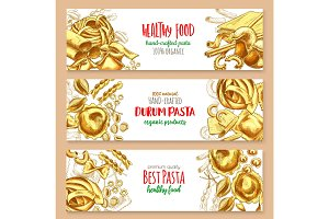 Hand-crafted pasta Italian cuisine vector banners