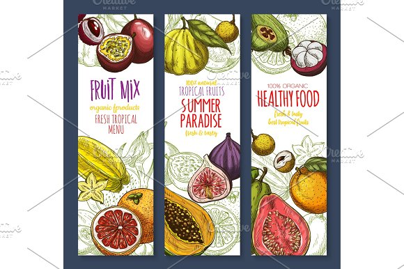 Vector Banners Of Exotic Fresh Tropical Fruits Mix
