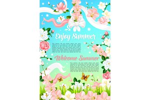Summer flowers, floral bouquets vector poster