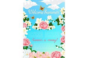 Summer greeting vector poster of blooming flowers