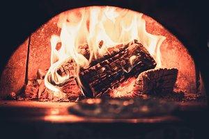fireplace in modern restaurant
