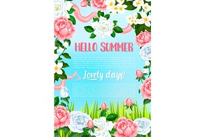 Vector greeting poster of flowers for Hello Summer
