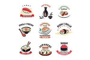Vector icons set of Japanese sushi food restaurant