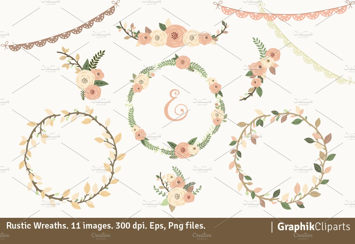 Rustic Wreaths Illustrations Creative Market