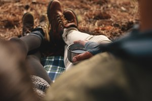 Hiker couple sitting together
