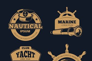 Retro nautical color vector labels