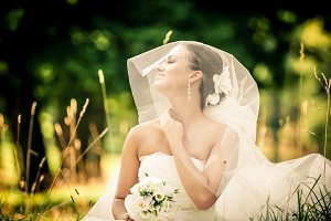 beautiful young bride sitting