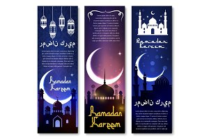 Vector banners for Ramadan Kareem holiday greeting