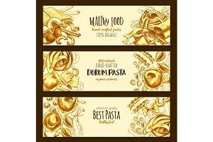 Italian durum pasta cuisine vector banners