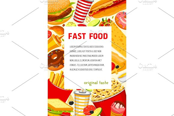 Vector Fast Food Poster Of Snacks And Meals