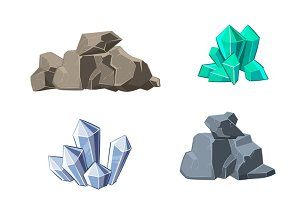 Cartoon minerals and stones set