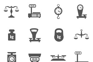 Scales, weighing, weight icons set