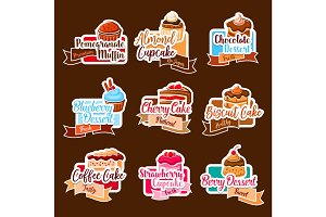 Bakery shop vector stickers for dessert cakes