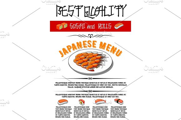 Japanese Vector Menu For Sushi And Rolls