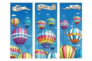 Vector banners for hot air balloon voyage tour