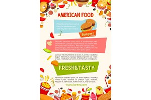 Vector poster of fast food poster snacks and meals