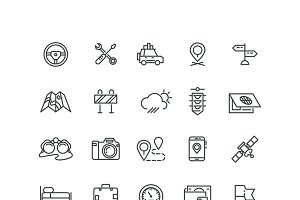Road and auto line icons