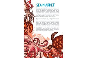 Vector poster for seafood fishing market