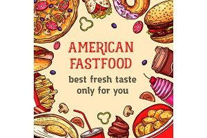 Vector fast food poster of meals and desserts