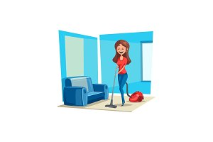 Room cleaning woman in house vector poster