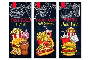 Menu for fast food restaurant vector banners