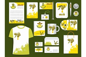 Corporate identity vector items olive oil products