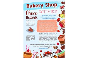 Bakery shop vector poster of dessert cakes