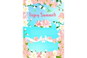 Summer blooming flowers vector greeting poster