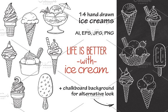 14 Hand Drawn Ice Creams Vector Set