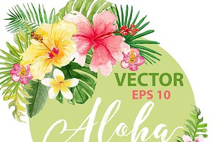 Vector watercolor tropical design