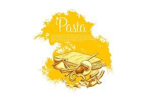 Italian pasta cuisine vector poster for restaurant