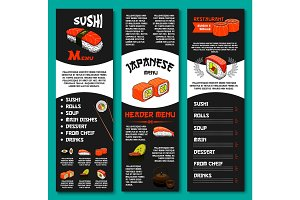 Japanese vector menu for sushi restaurant or bar