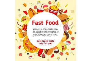 Vector poster for fast food restaurant menu