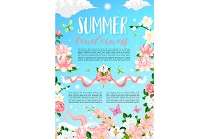 Summer time flowers vector floral poster