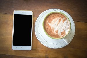 coffee cup and smart phone